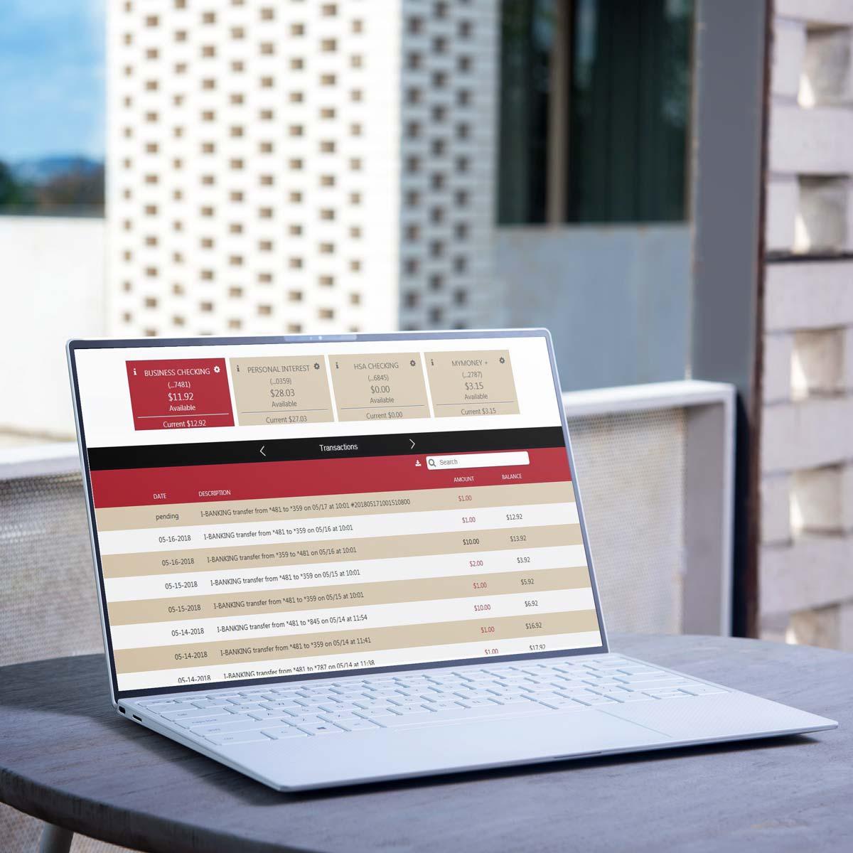 Open Laptop showing Online Banking website