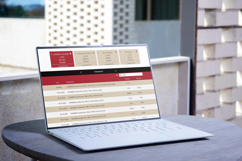 Open laptop showing online banking interface
